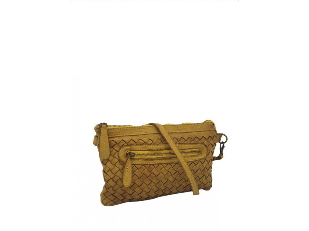 Kožená kabelka 2858 vintage hořčicová